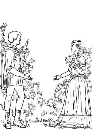 Romeo y Julieta en el Jardn dibujo para colorear  literatura