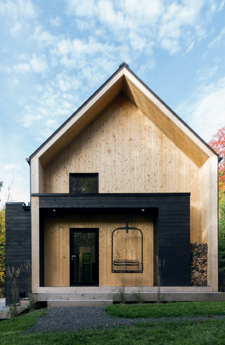 Check Out This Stylish Scandinavian Inspired Cabin With A Hot Tub In Charlevoix Quebec Scandinavian Modern House Facade House House Exterior