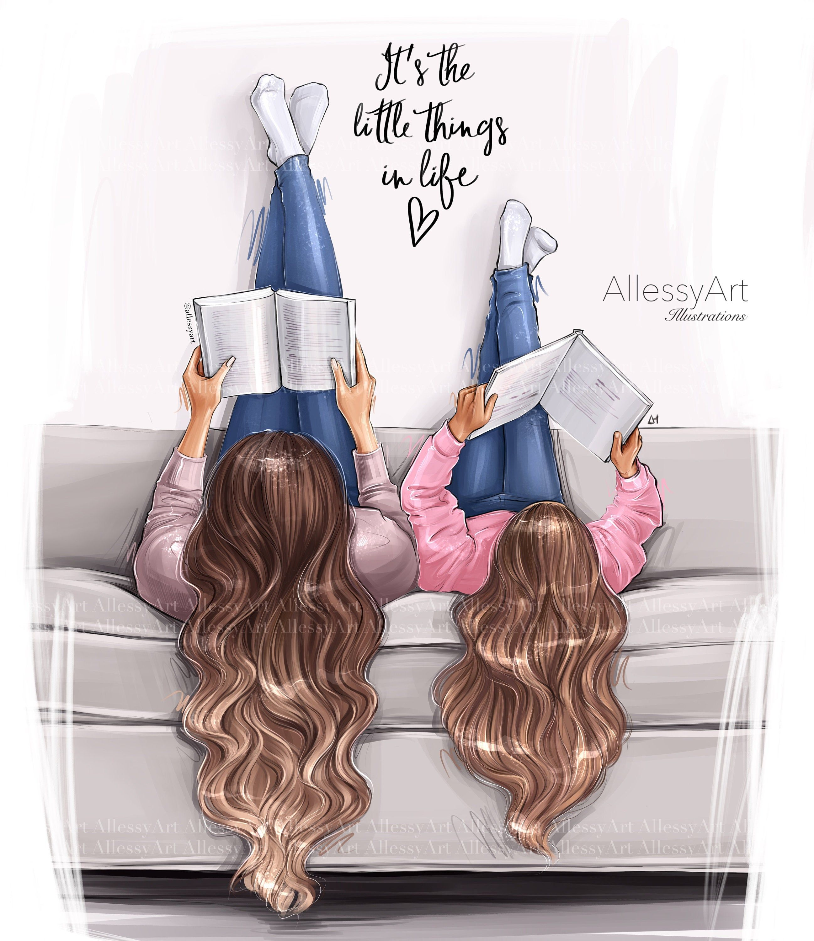 Photo of Mother and daughter life instant download fashion illustration momlife best life little things in life