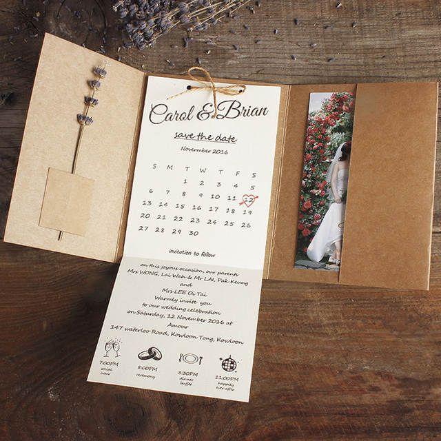 Kraft Pocket Wedding Invitations, Rustic Wedding Invites Custom Wording Print – Set of 50 pcs
