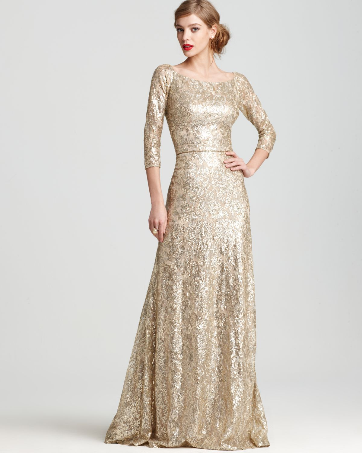 David Meister Gown Three Quarter Sleeve Sequin Bloomingdale S Formal Dresses Gowns Formal Dresses With Sleeves Gowns Dresses [ 1500 x 1200 Pixel ]