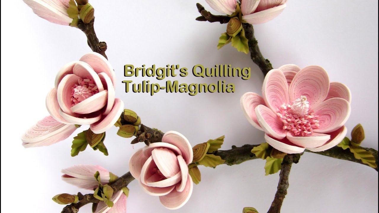 Quilling flowers D TulipMagnolia Tutorial  Quilled Flowers