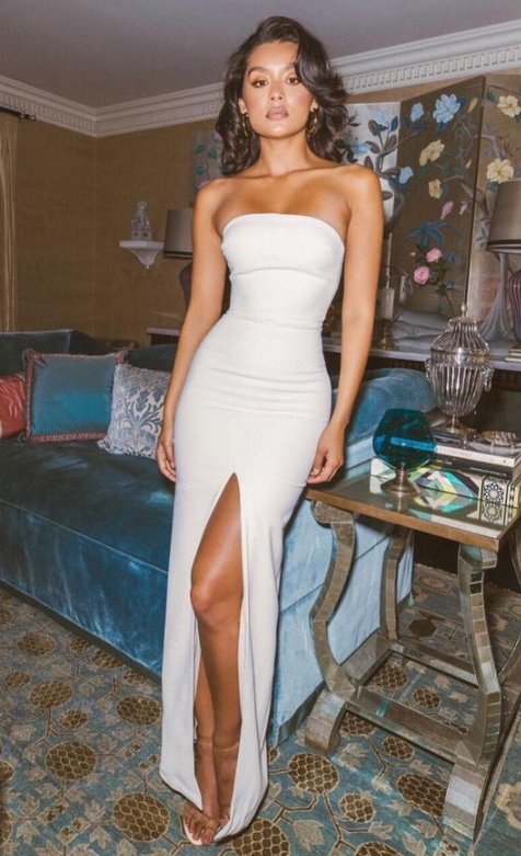 A Line Floor Length Strapless Sexy Prom Dress,Cheap Evening Dress from SheDress