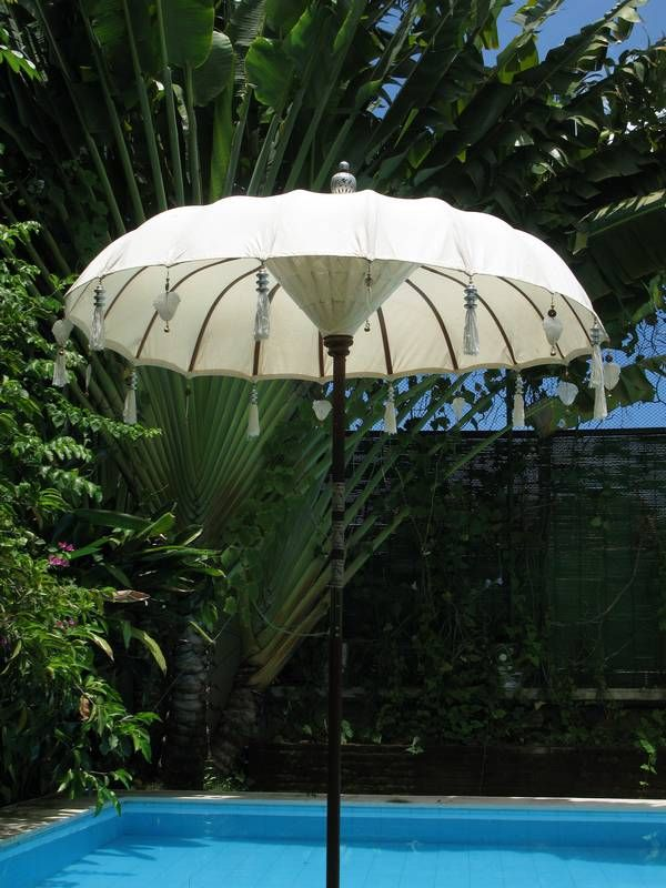 handmade bali white cotton wedding umbrella demiurgic