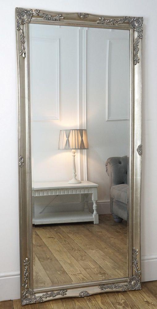 Isabella Silver Shabby Chic Full Length Antique Floor Mirror 66\