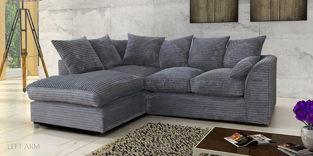 Jumbo Cord Corner Sofa In Grey Or Brown A Footstool Or 2 3 Seater Swivel Chair Ebay Leather Sofa Living Room Leather Corner Sofa Grey Corner Sofa