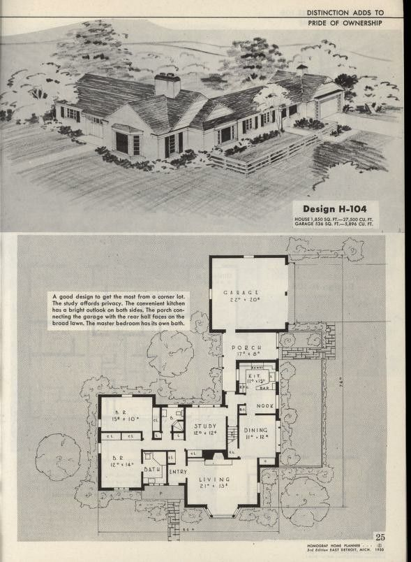 Design H 104 House Plans With Pictures American Home Design Vintage House Plans