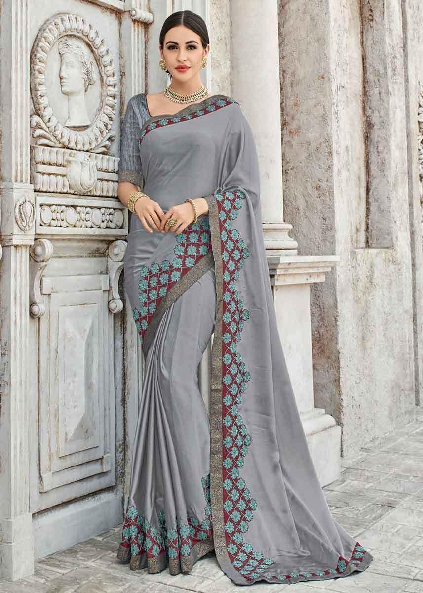 c9c1b664807cfa Grey Color Two Tone Bright Georgette Floral Lace Border Saree in ...
