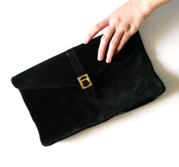 898f3a0df1 Vintage Black Suede Leather Clutch Purse by LiliesValleyVintage
