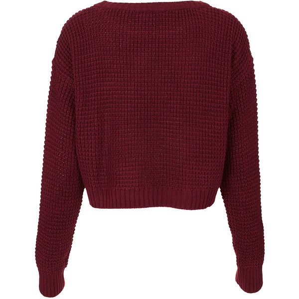 TOPSHOP Knitted A Motif Crop Jumper featuring polyvore, fashion, clothing, tops, sweaters, topshop, jumpers, burgundy, textured crop top, cropped jumper, jumper top and burgundy sweater