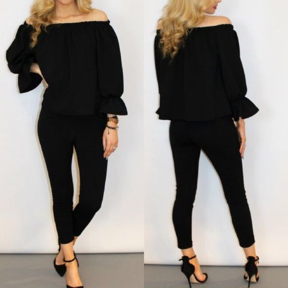 """Sexy Off Shoulder Bardot Two Piece Set Textured Knitted Off Shoulder Two Piece Set  Off Shoulder Elasticated Bardot Neckline  Frill Bell Sleeves  Loose Fitting  Legging Style Pants  Elasticated Waist  Excellent Crepe Quality  Approximate Length Of Top: 17"""" / 43cm  Approximate Length Of Bottom: 34.5"""" / 88cm  95% Polyester, 5% Elastane  Made In UK ** Listed under brand for reference*** Missguided Tops Blouses"""