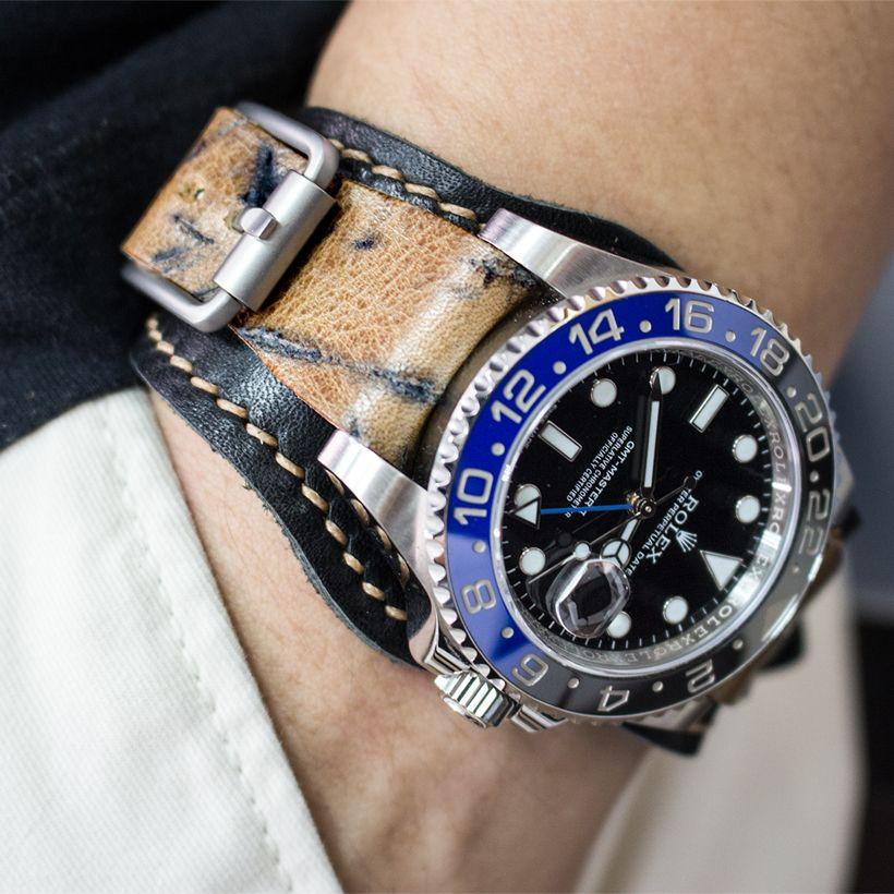 "#MiLTAT ""Leather of Art"" Hezzo Bund on Rolex GMT Master II 116710 BLNR #rolexbatman  #strapcode"