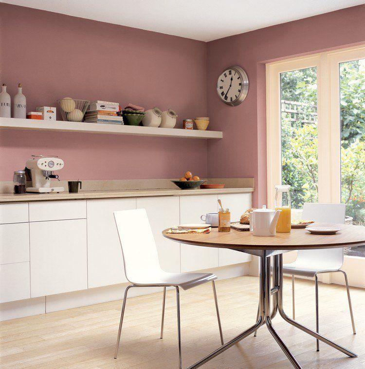 Peinture Cuisine Deco: Deco-cuisine-couleur-rose-cendre-sur-deavita