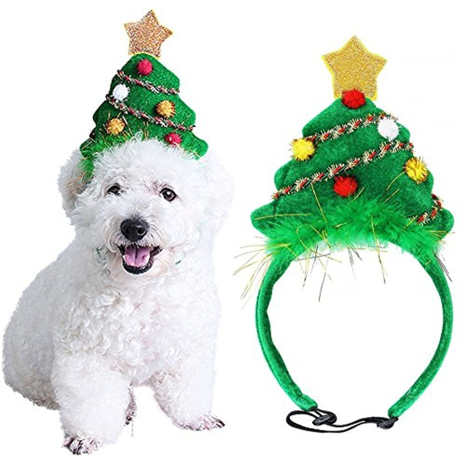 Purrfect Paws Pets Costume Christmas Tree Headband Adjustable Elastic Bungee Fancy Costume For Cats Dogs Christmas Animals Pet Costumes Pet Costumes For Dogs