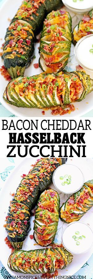 Cheddar Hasselback Zucchini Bacon Cheddar Hasselback Zucchini - the low-carb version of a baked potato!Bacon Cheddar Hasselback Zucchini - the low-carb version of a baked potato!