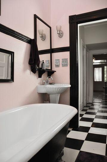 A Pink And Black Bathroom Design on pink tile bathroom, pink black mirror in bathroom, black and white kitchen designs, pink bathroom before and after, pink and violet bathroom designs, pink bathroom decorating tips, pink black and white bathroom, pink bathroom renovation,