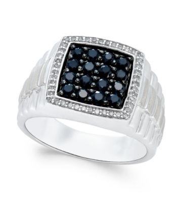 a398d98ee716 Men's Black Sapphire (1 ct. t.w.) and White Sapphire (1/5 ct. t.w.) Ring in  Sterling Silver - Black
