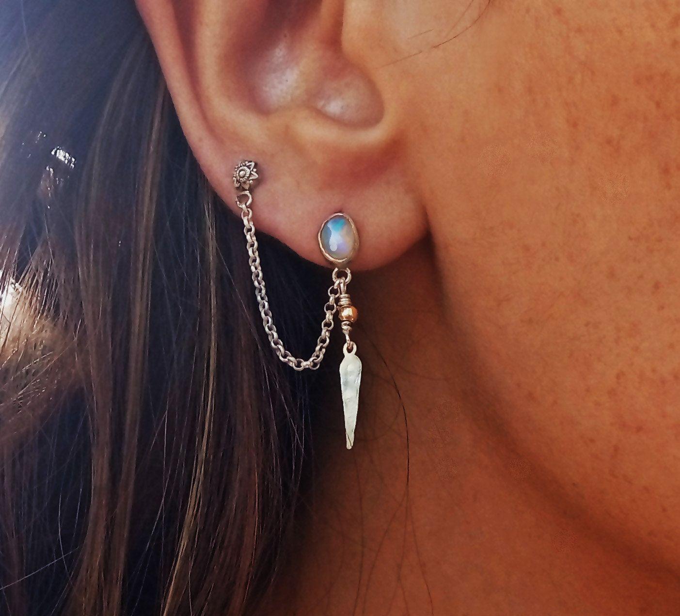 Ethiopian Opal Double Piercing Earring Sterling Silver 925 Ethnic Jewelry Two Hole Earrings Chain Handmade Cartilage By Avitalkatzart