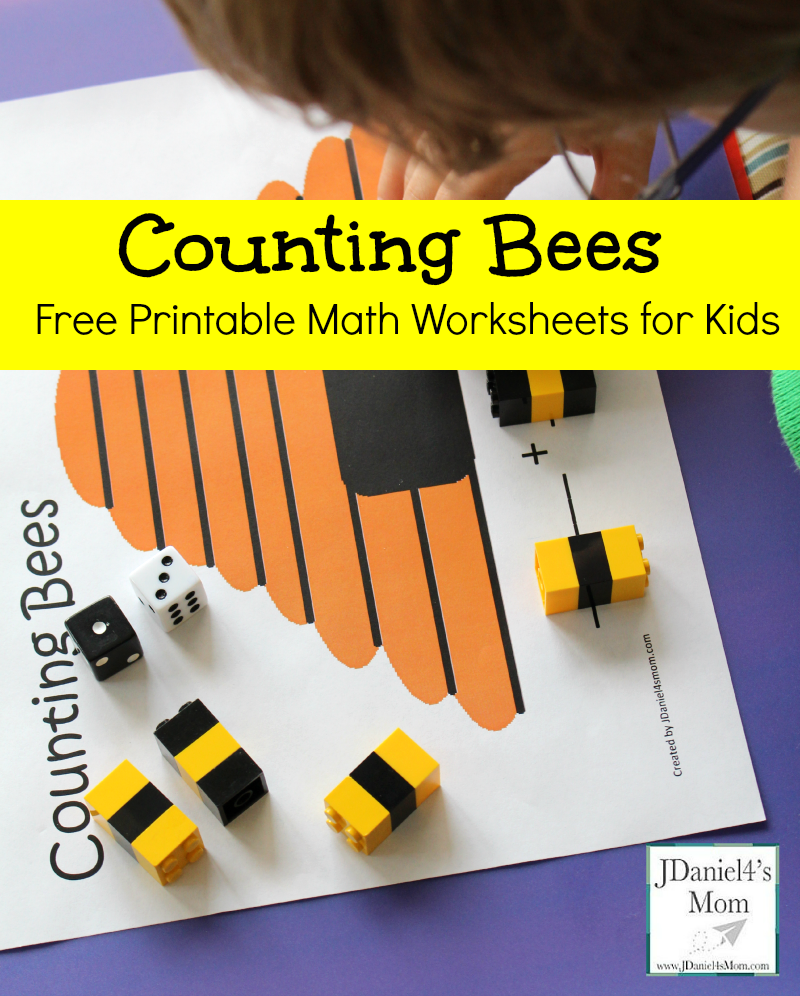 Free Printable Math Worksheets for Kids- Counting Bees | Montessori ...
