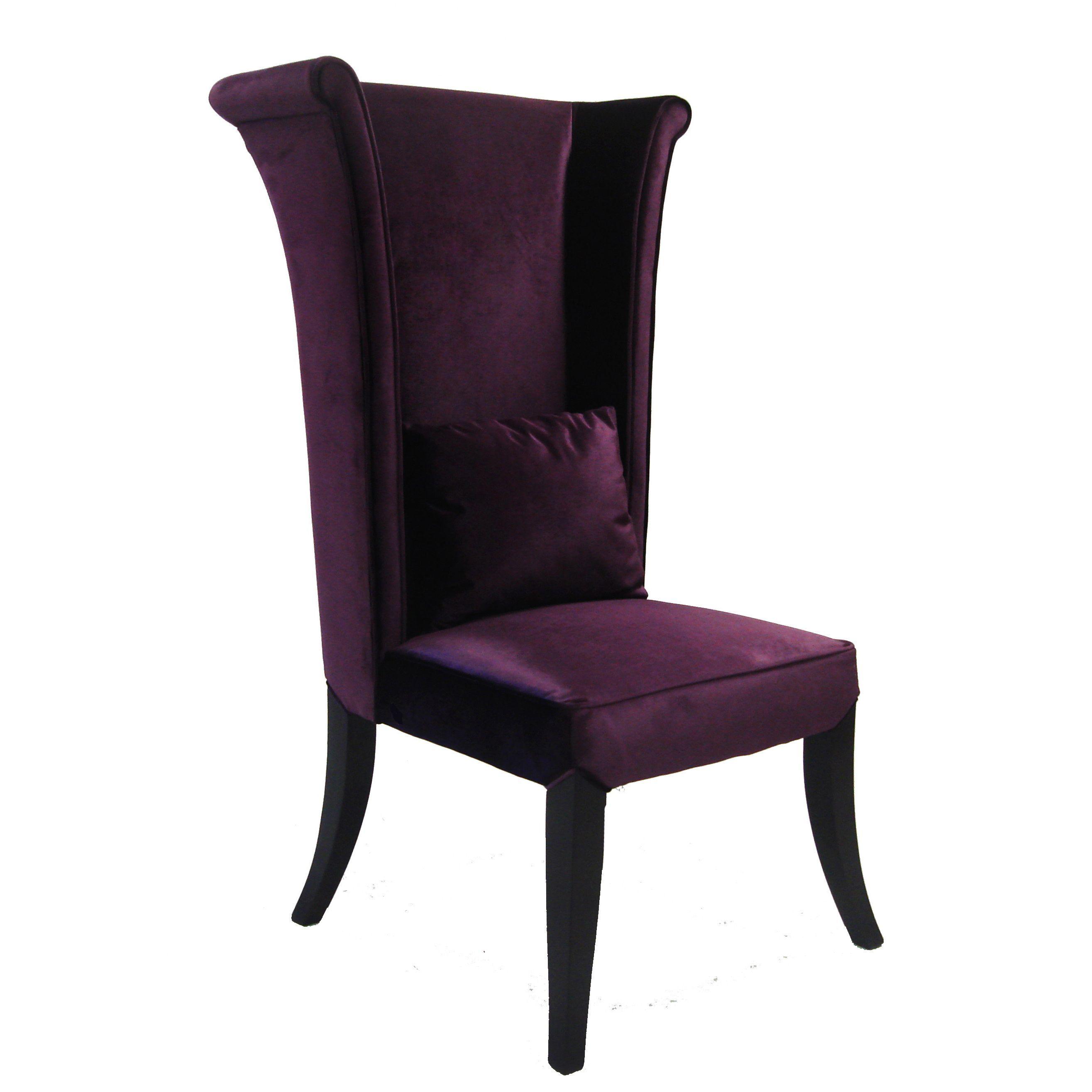 Armen Living Mad Hatter Purple Velvet High back Chair by Armen