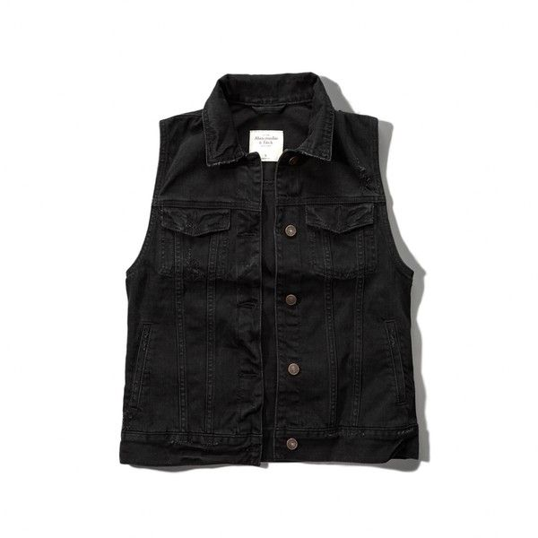 Abercrombie & Fitch Black Denim Vest (€44) ❤ liked on Polyvore featuring outerwear, vests, tops, black, denim waistcoat, black waistcoat, abercrombie & fitch, vest waistcoat and black vest