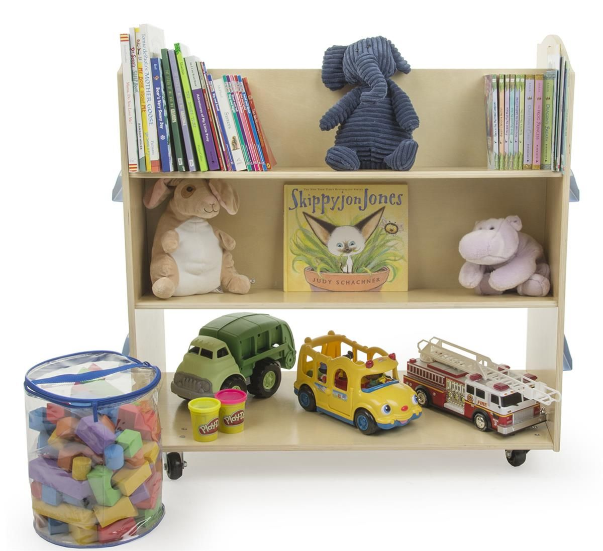 3 Tiered Childrens Book Cart Display For Floor Double Sided Wood