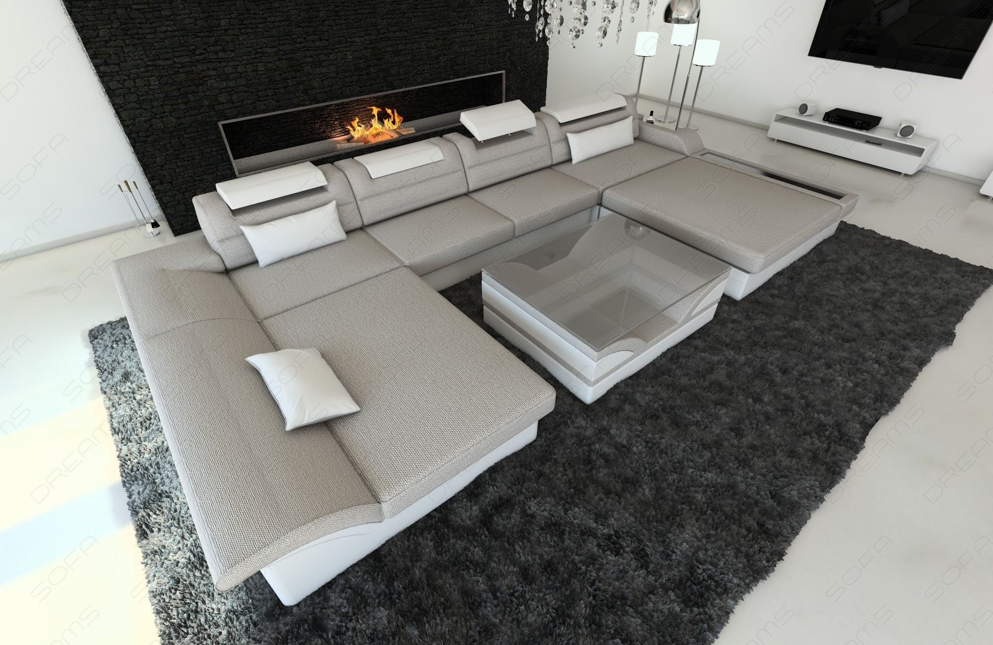 Design Sectional Sofa Chicago With Led Sand Hugo 2 Fabric Sectional Sofas Sectional Sofa Furniture