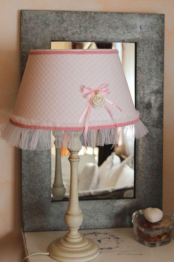 Abat-Jour romantique - vichy rose pastel - Fleur et froufrou - esprit shabby…