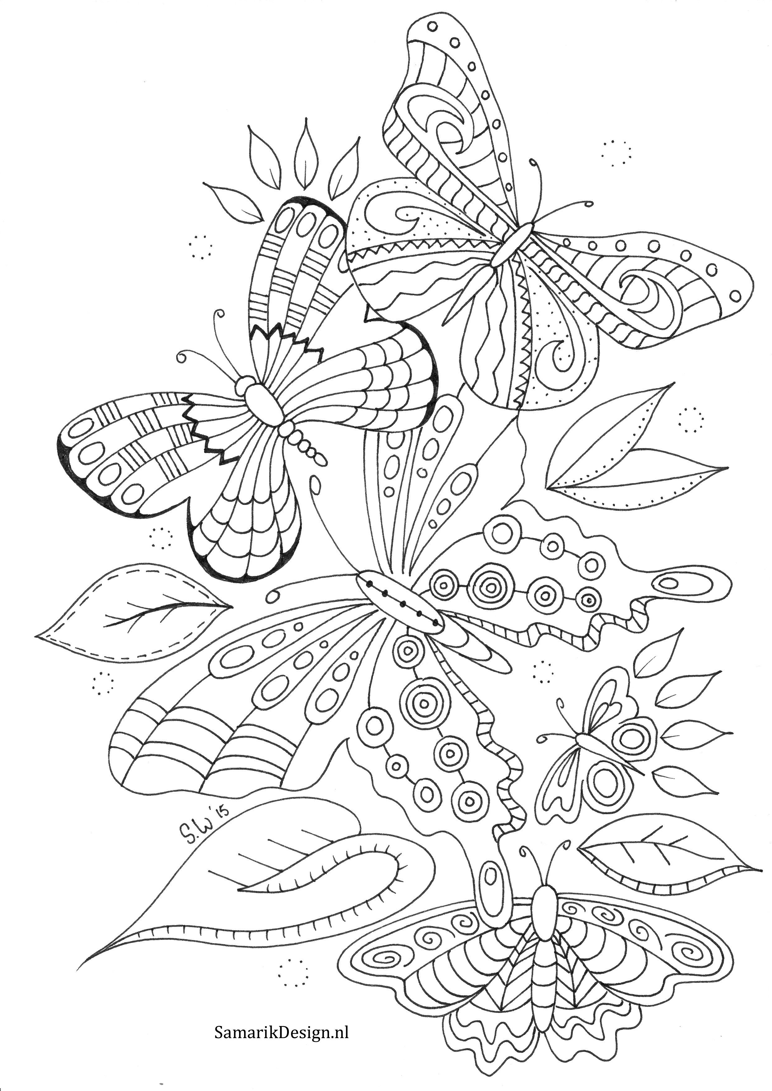 Vlinders Doodle Butterfly Coloring Page Detailed Coloring Pages Animal Coloring Pages [ 3507 x 2480 Pixel ]