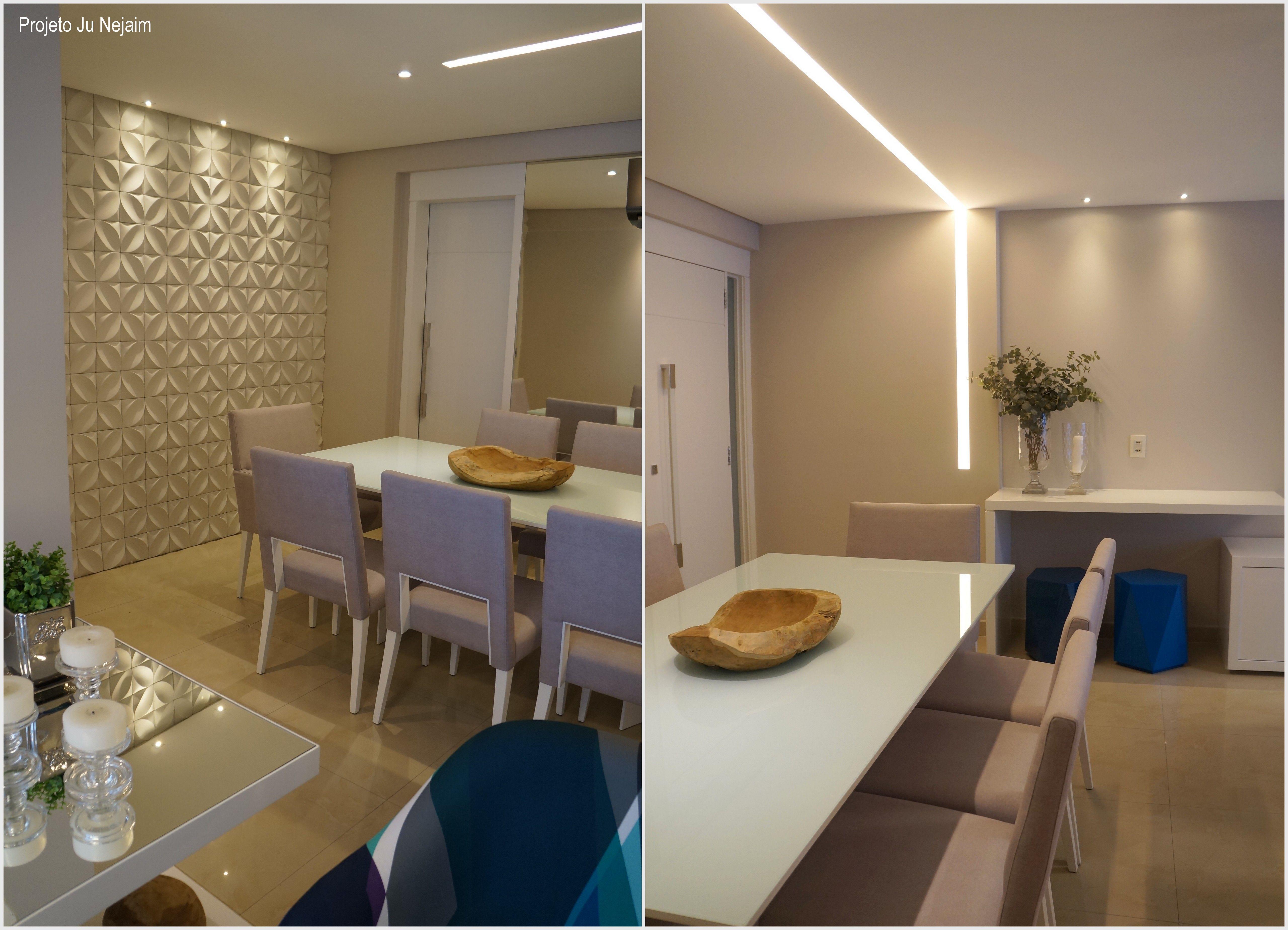 Sala de jantar com revestimento 3d flora da rerthy for Revestimento 3d sala de estar