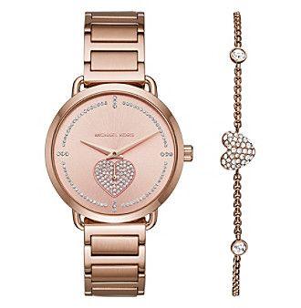 Michael Kors Women's Rose Goldtone Bracelet And Watch Set