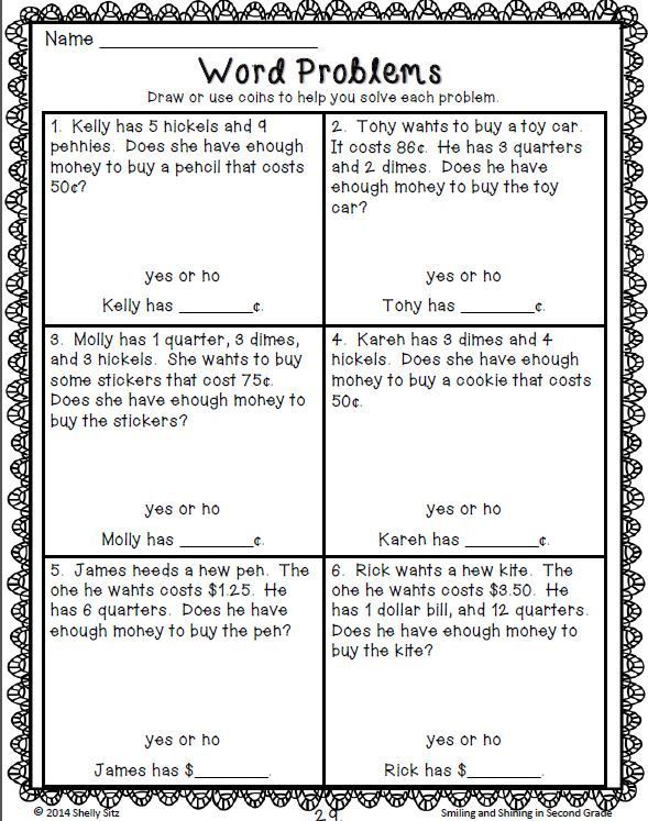 Money Worksheets Distance Learning Math Words Math Word Problems Money Word Problems