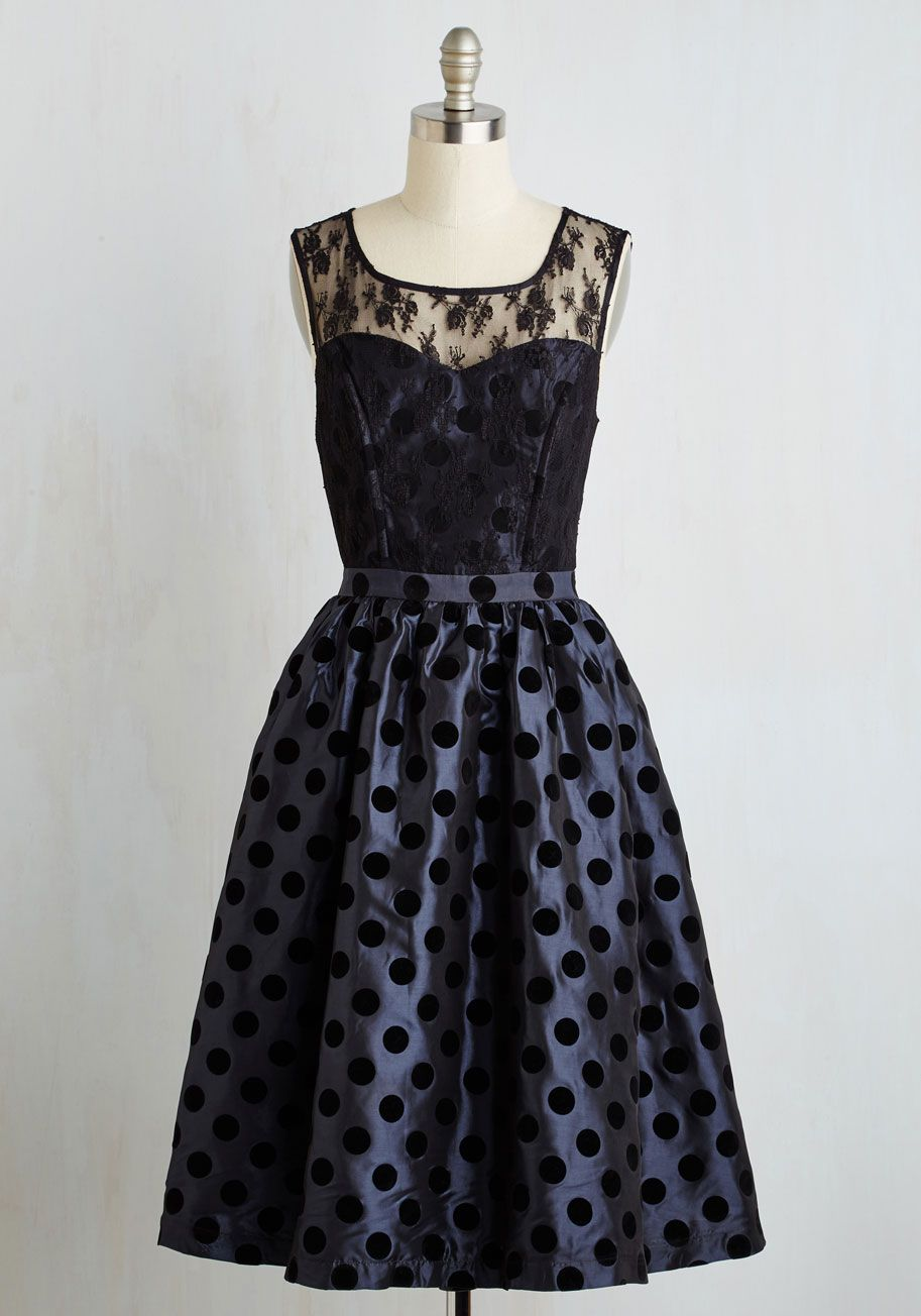 Belle of the Ballroom Dress. Under the chandeliers glimmer, the moonstone sheen of your fancy LBD looks more delightful than ever! #black #modcloth