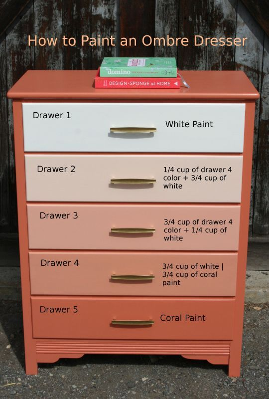How to Paint an Ombre Dresser I have done this 4 times now I love the effect makes an ordinary piece of furniture very unique