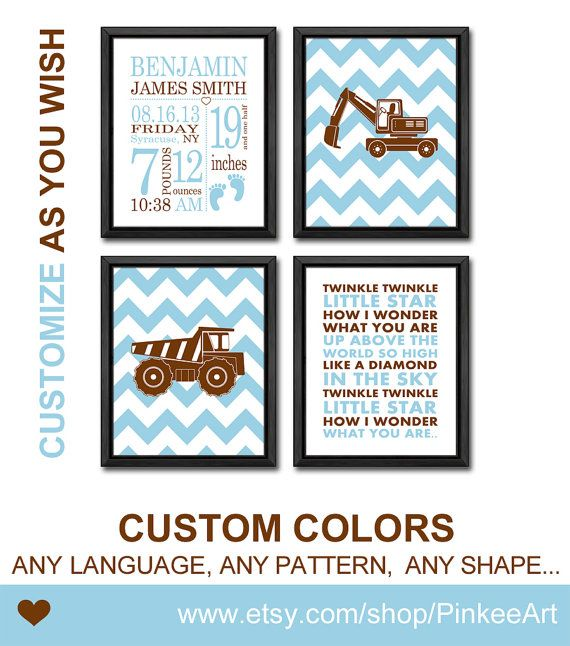 Baby nursery decor construction site truck birth announcement personalized new baby gift boy subway art birth announcement truck nursery baby annoucements negle Gallery