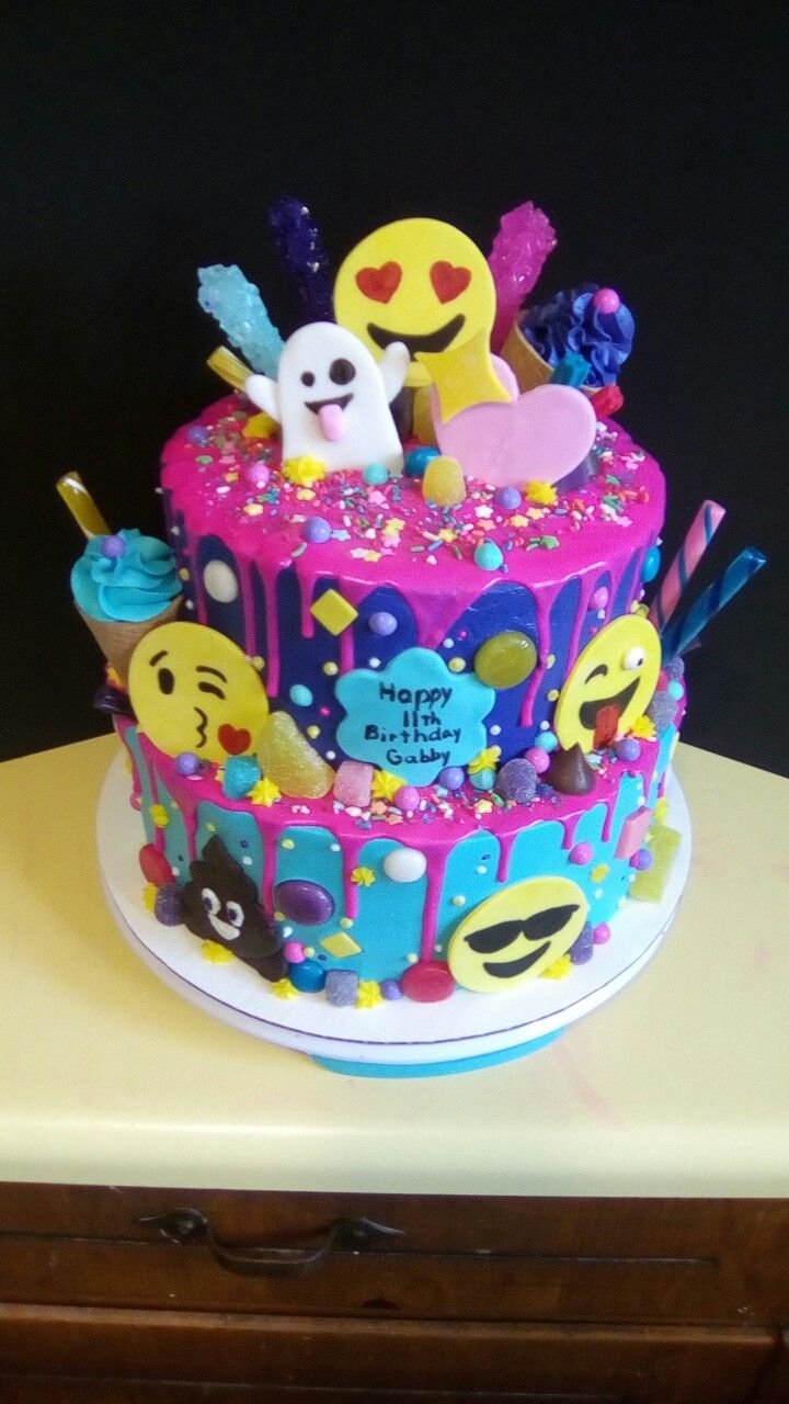 Emoji And Candy Cake Birthday Cake Pinterest Candy Cakes