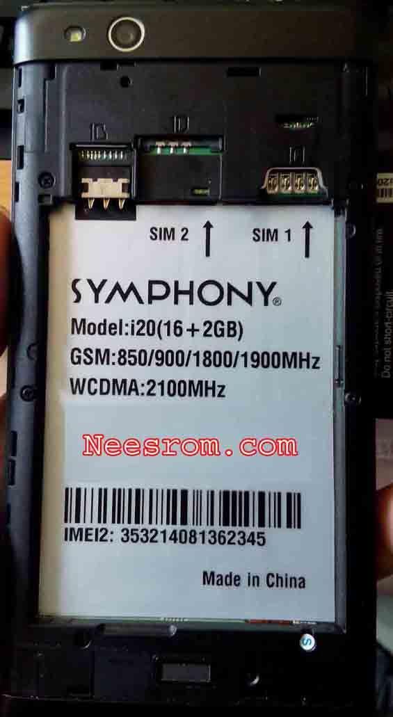 SYMPHONY i20 FIRMWARE FLASH FILE 2GB RAM Firmware