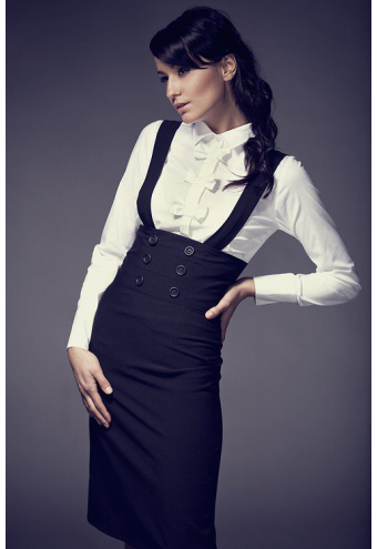jupe taille haute avec bretelles robes jupes. Black Bedroom Furniture Sets. Home Design Ideas