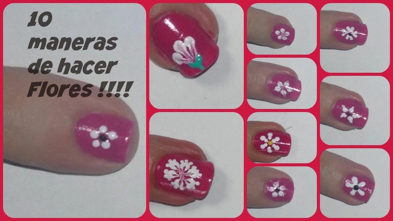 10 Formas De Hacer Flores En Las Uñas Uñas Con Flores Diseños De Uñas Disenos De Unas