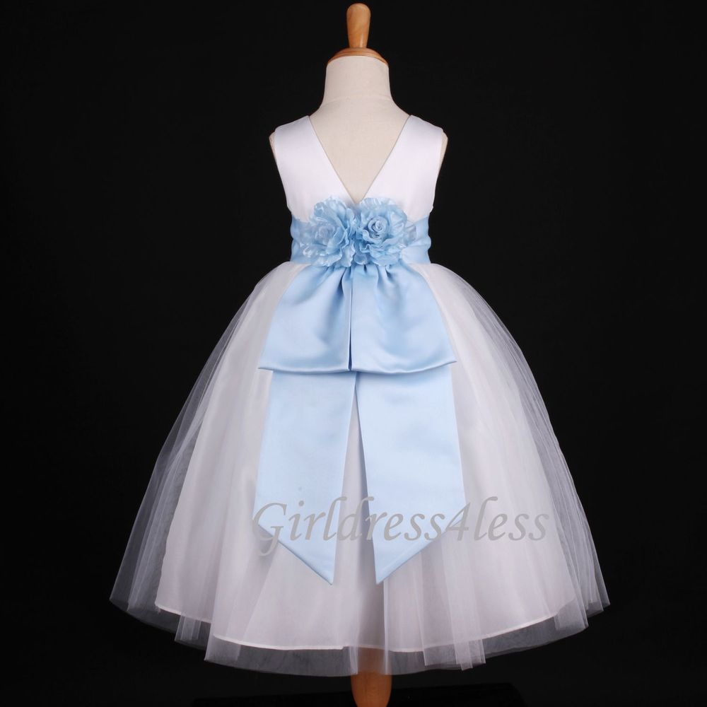 Whitesky blue baby bridesmaid recital flower girl dress m m