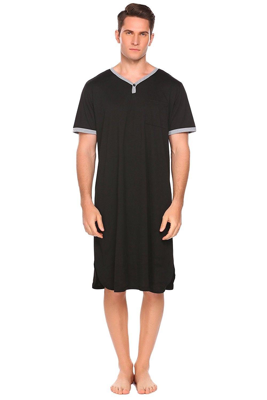 Men's Nightshirt Cotton Sleep Shirt Comfy Mightwear Short Sleeve Henley  Loungewear - Black1 - CO180GOTHGE   Cotton nightwear, Night shirt, Mens  nightshirts