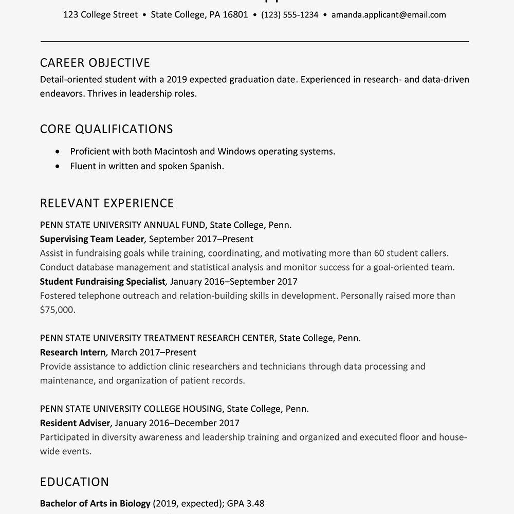Sample Resume Objective For College Student http//www