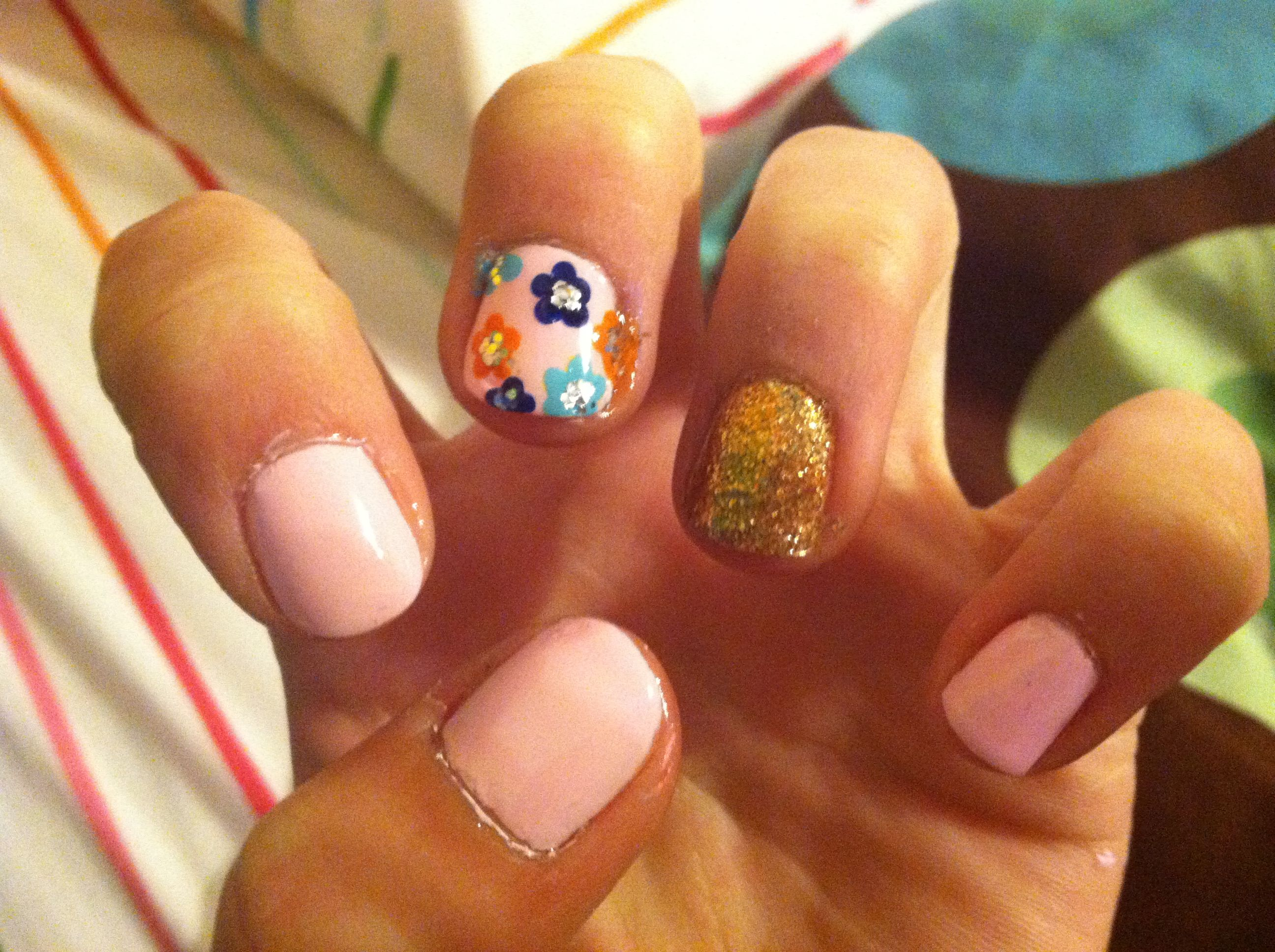 Gold And Pink Flower Nail Art Pinterest Flower