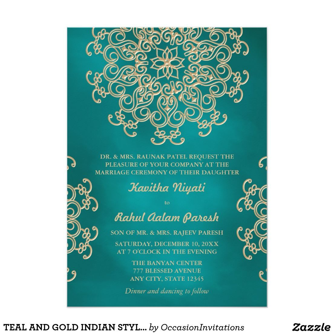 Teal And Gold Indian Style Wedding Invitation Indian Style
