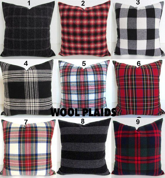 Pillows Wool Plaid Pillow Cover