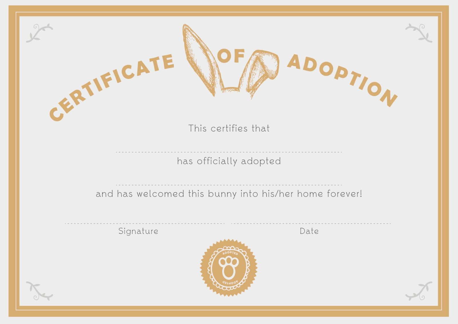 You Are In Good Company Good On Paper Bunny Adoption Certificate Adoption Certificate Pet Adoption Certificate Paper Bunny Adopt a pet certificate template