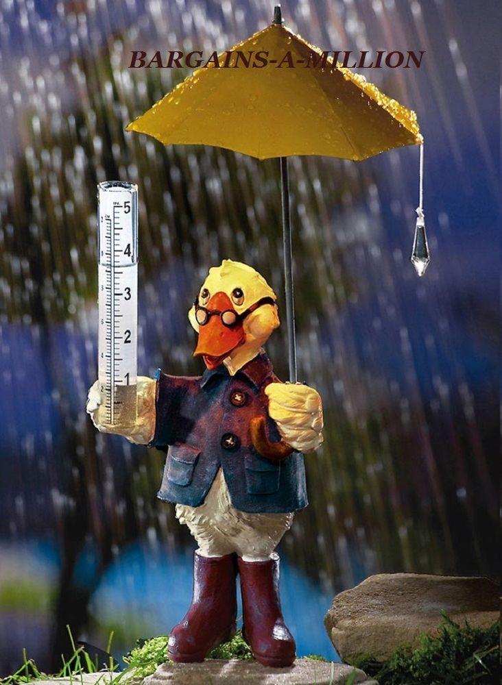 Quacky Duck Lighted Outdoor Rain Gauge Metal Umbrella Lawn