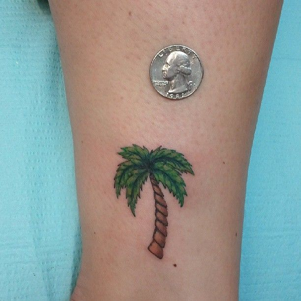Palm Tree Color Ink Tattoo On Ankle | Great Ideas ...