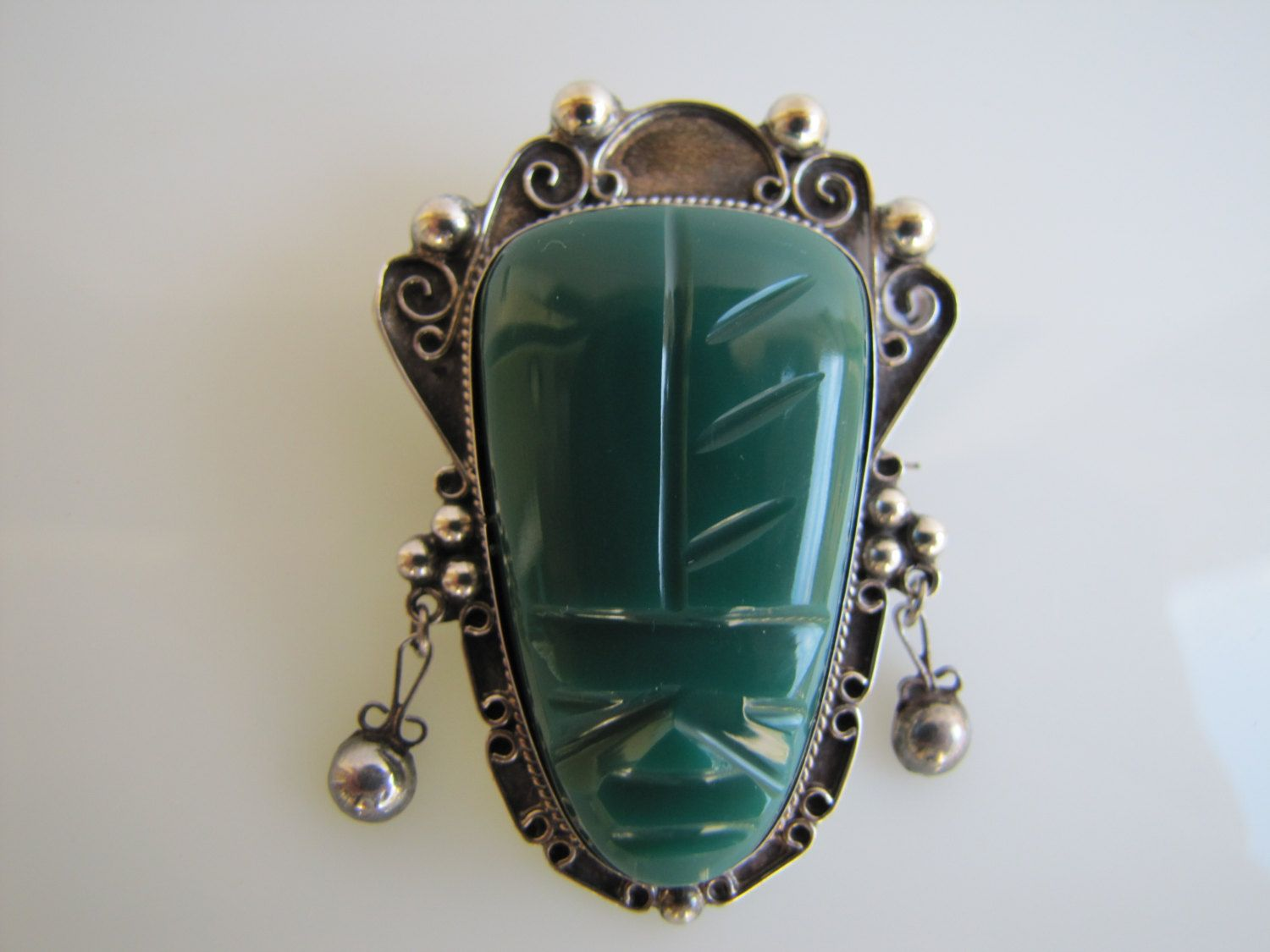 Vintage Taxco Mexico Figural Silver Brooch Large Dramatic Green Carved Onyx Face Aztec Design Sterli Silver Ring Designs Mexican Silver Jewelry Silver Brooch