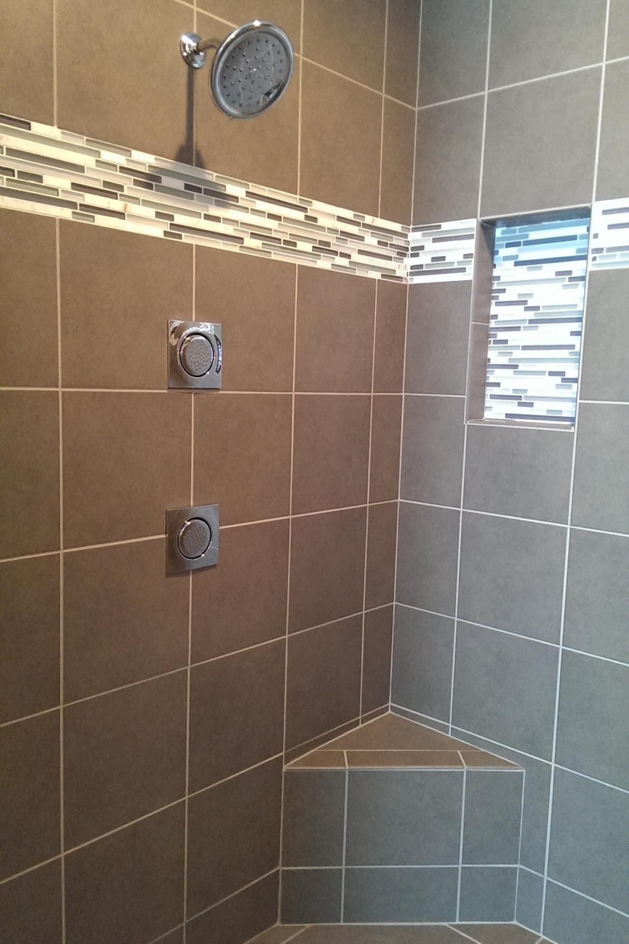 Contemporary Taupe Tile Shower With Horizontal Mosaic Accent Tile Shower Accent Tile Large Shower Tile Shower Tile